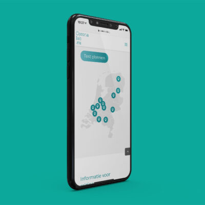 Mockup Of A Smartphone With The Website Of Coronalab.eu On Display